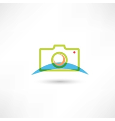 Green camera icon vector