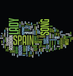 Lady of spain text background word cloud concept vector