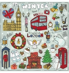 London winter landmarks setcolored christmas vector