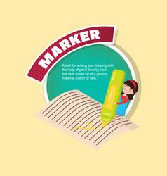 Marker tool description little girl with giant vector