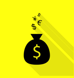 money bag sign with currency symbols black icon vector image