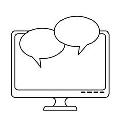 monitor computer with speech bubbles vector image