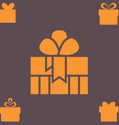 Orange gift box with a bow or present icon vector