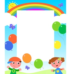 Rainbow kids and balloons frame vector image