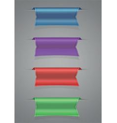 Ribbon set blue purple red green vector