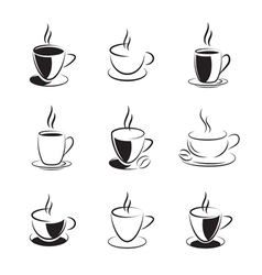 set of coffee and tea vector image