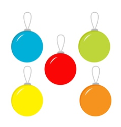 Set of five Christmas balls vector image