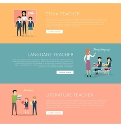 Set of School Teachers Banners vector image