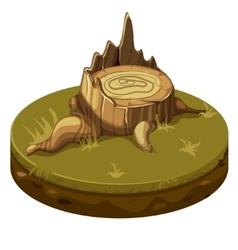 Tree stump at ground platform vector image
