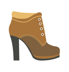 warm female half-boot on heel made of suede vector image vector image