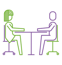woman and man business sitting communication team vector image