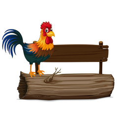 wooden sign with rooster vector image vector image
