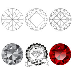Set of royal cut jewel views vector