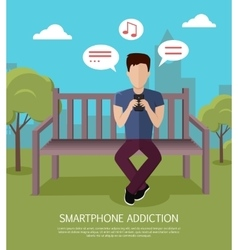 Smartphone addiction banner vector