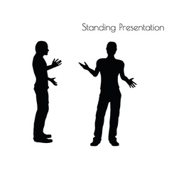 Man in standing presentation pose on white vector