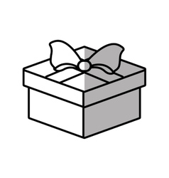 gift box ribbon valentine party shadow vector image