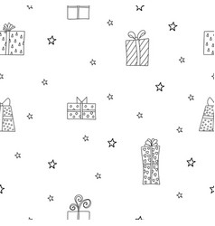 Seamless pattern with cute giftboxes vector