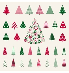 Decoration pine trees celebration set vector