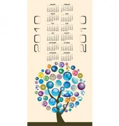 2010 globes tree calendar vector image