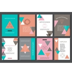 Set of colorful vintage cards with hipster vector