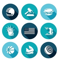 United states icons set vector