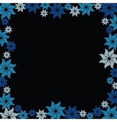 Blue flower burst on black background vector