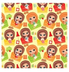 seamless girls cartoon pattern vector image