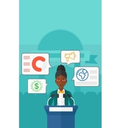 Woman speaking on podium vector