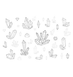 Set 18 fashion crystal monochrome diamonds in vector