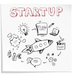 Start up concept Seamless hand drawn pattern vector image