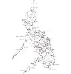 Philippines black white map vector