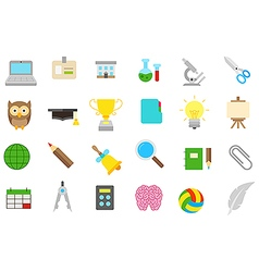 School elements isolated icons set vector