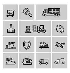 black logistic and shipping icon set vector image