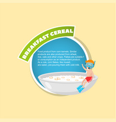 breakfast cereal description boy in diving mask vector image