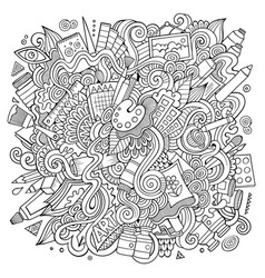 Cartoon cute doodles hand drawn artistic vector