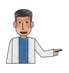 Color pencil half body caricature doctor male with vector