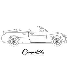 Convertible car body type outline vector
