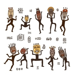 Dancing figures in African masks vector image vector image