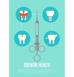 Dental health banner with syringe vector