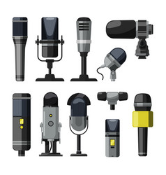 dictaphone microphone and other professional vector image vector image