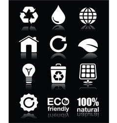 Ecology green recycling white icons set o vector image