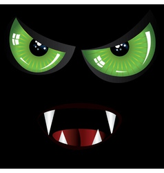 Evil face with green eyes vector