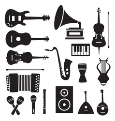 Flat music instruments icons pictograms background vector