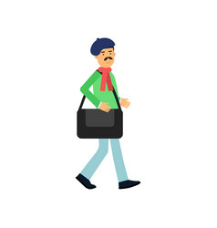flat profession artist walking with bag for vector image