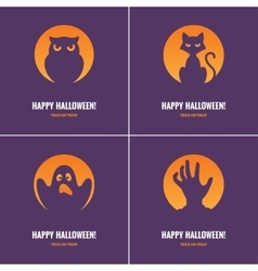 Four purple Halloween cards vector image vector image