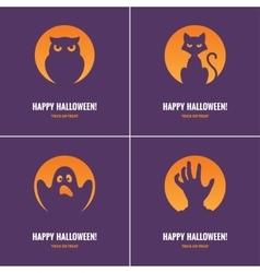 Four purple halloween cards vector