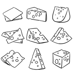 Hand drawn cheese outline cheese slice vector