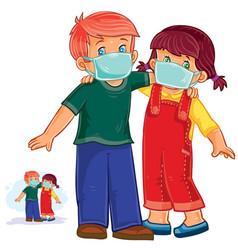 Little boy and girl in medical masks vector