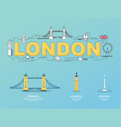 london landmarks icons in england for traveling vector image vector image
