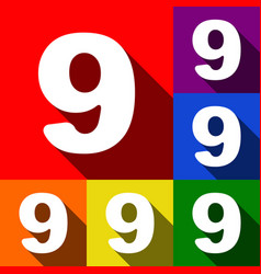 Number 9 sign design template element set vector